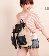 Simple black belt decoration women linen backpack,fashion partysu student schoolbag