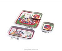 Food safety printing round 100% melamine elegant serving tray