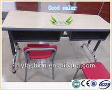 Double desk and chair with metal frame for student