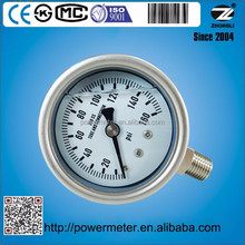 63mm gas pressure gauges with all SS material bottom connection laser welding 160 psi