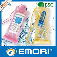 clear orange sensitive screen pvc mobile waterproof bag/pouch with window for take pictures