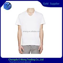 Wholesale New Design Fashion V-neck Basic White T-shirt for Adult