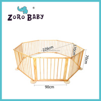 8 Sides Natural Wooden Solid Timber Baby Kids Natural White Playpen Play pen