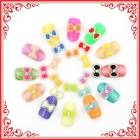 A014 12 Color 3d Nail Art Decoration 11*8MM Bow Tie with Drill Nail Resin Art Acrylic Nail Kit Gel UV