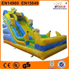 2015 hot new style little yellow people inflatable water slid , big jumping slides for sale