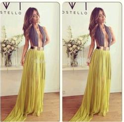 Instyles 2014 New Women Trendy Sleeveless Beaded Peplum Pleated kaftan Maxi Chiffon Evening Dresses