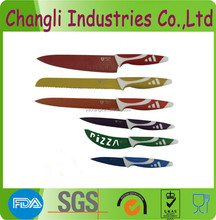 High quality 6pcs Switzerland royalty line non-stick coating color kitchen knife set