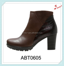 Hot sale woman fishing mid heel ankle boots patch work motorcycle riding boots