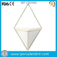 Geometric decor creative white hanging wall vessel