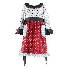 2015 frock design summer factory wholesale Chinese traditional style dot dress