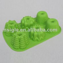 6 cups silicone mini flute pan with 3 Different design