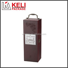 Locked wooden wine box with handle