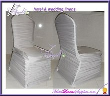 shiny white ruffled spandex chair covers, white pleated lycra chair covers for banquet chairs