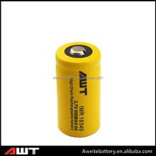 Original AWT 16340 550 mah battery 3.7v rechargeable 16340 for ecig