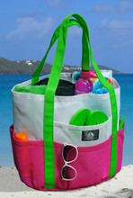 beach bag made from mesh bag and canvas bag with uv change print