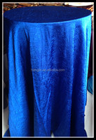 Elegant royal blue wrinkle crushed cloth hood cover tables table cloth for hotel hall banqet and wedding use