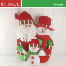 New design three doll connection plush cotton fabric fabric christmas family set holiday gift