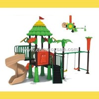 Children cartoon outdoor playground plastic slides.