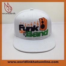 Flat Brim White Snapback Hat/Embroidey Custom Snapback Wholesale
