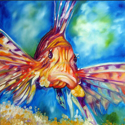 Top quality best service funny handmade sad fish oil painting