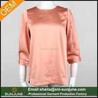 3/4 sleeve fashion ladies satin top