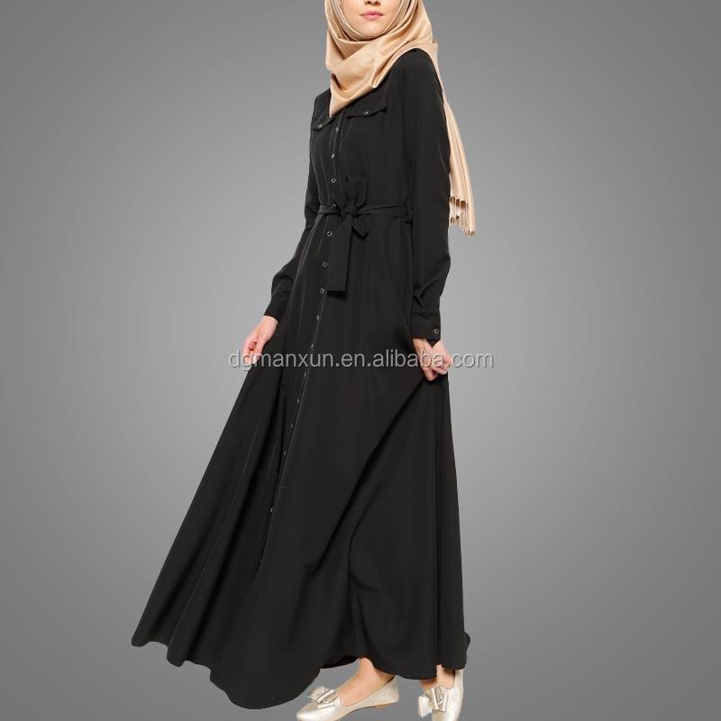Fashion dubai black abaya new models sexy saudi girls image buttons abaya no see through muslim dre (8).jpg