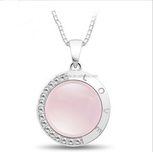Fashion Beautiful 925 Silver Rose Quartz Pink Loverly Pendant Necklace for Women