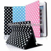 FL076 Factory supply PU Stand Case Polka Dot pattern stitching silk velure leather case For ipad 2 ipad 3