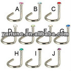 Unique Jeweled 316L Surgical Steel Nose Stud Body Jewelry