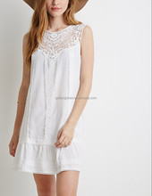 New model white half lace new designs lady casual dress