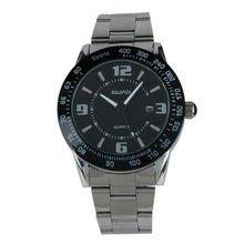 New Mens Black Dial Black Bezel Date Stainless Steel Quartz Watch WM177