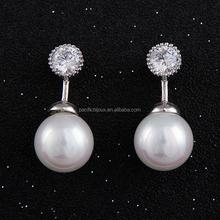 korean trendy mini zircon with pearl stud earrings jewelery
