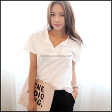 Low price high quality popular blank v-neck t-shirts or shirt women or get your own designed clothing manufacturer