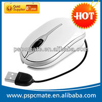 3D USB Optical Scroll LED Wheel Mouse Mice for PC Mac mini mouse with retractable cable,gift box packing