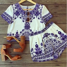 C85698A Lady Vintage blue and white patterned dress/wholesale ladies summer dress