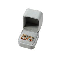 Grey Velvet Cover Custom Printed Earring Box Ring Box