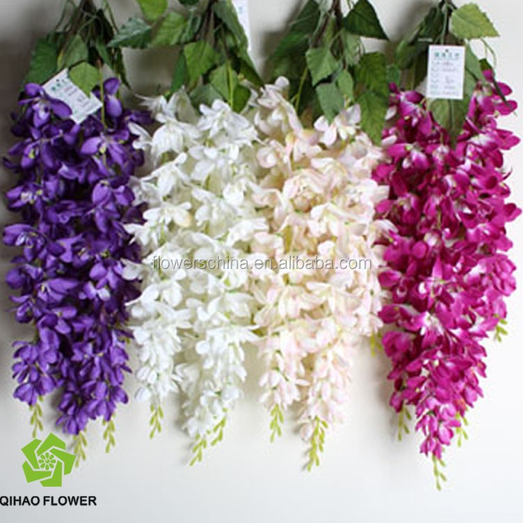 Artificial wisteria flower artificial plastic flower vine for Artificial leaves for decoration