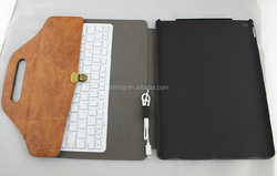 2015 Christma business multi-function wired leather keyboard Case for IPad pro