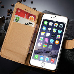 Universal PU leather smart wallet for Iphone 6 credit card case with stand