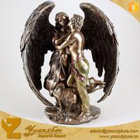 Elegant antique Bronze Or Brass winged Angel Statue Figure Carving