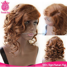 Wholesale kinds of short brazilian human hair full lace wig, ladies short hair lace front wig for black women