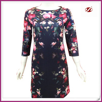 Floral digital printed ladies dress with zipper on back part,2015 ladies fashion dresses with pictures