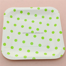 Square Polka DOT Party Paper Plates/Disposable Plates for Wedding Supplies