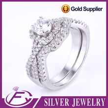 Micro pave setting elegant design 925 sterling silver wedding ring