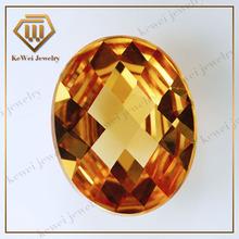 pretty champagne checkerboard cut flat back oval shape glass gemstone
