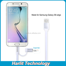 2 in 1 USB Charger Charging Cable For Samsung Galaxy S6 Edge and iPhone6 Flat Micro USB Charging Cable With 8 pin Connector
