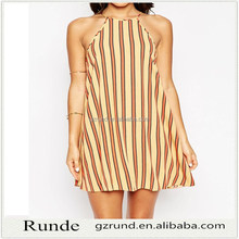 Sundress in Bright Stripe with High Neck Women Dress /Fashion Casual Sleeveless Mini Dress Women