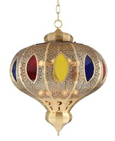 arabic handmake stained glass round TIN soldering bronze hanging lantern pendant light
