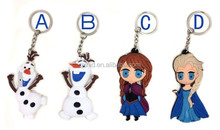 2015 newest hot-sale Frozen keychain key ring for Elsa/Anna/Olaf design