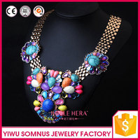 acrylic pearls colorful beads and diamonds Statement Beaded Pendant Necklace With Chain Jewellery